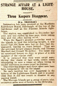 Newspaper clipping about the mysterious disappearance of the crew at the Flannan Isles lighthouse