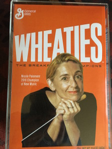 Nicole Paiement of Opera Parallele was presented with an image of herself on a box of Wheaties cereal because of her new 'champion' status!