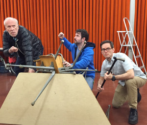 Lighthouse keepers Robert Orth, David Cushing, and Thomas Glenn in rehearsal